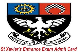 St Xavier's Entrance Exam Admit Card 2017