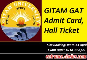 GITAM GAT Admit Card 2017