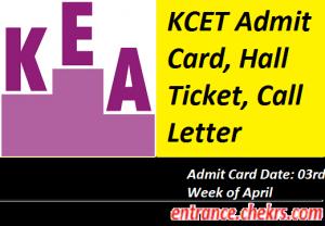 KCET Admit Card 2017