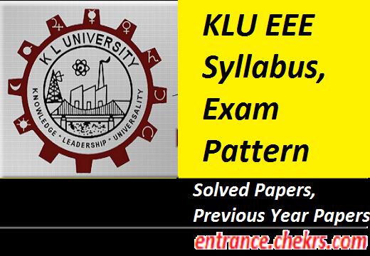 KLU EEE Syllabus Exam Pattern 2017