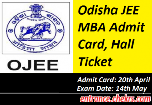 Odisha JEE MBA Admit Card 2017
