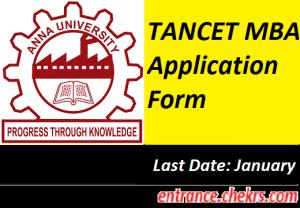 TANCET MBA Application Form 2018