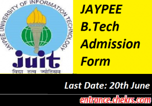 JAYPEE B.Tech Admission Form 2017