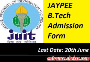 JAYPEE B.Tech Admission Form 2017