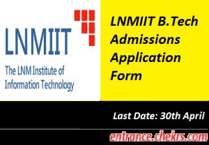 LNMIIT B. Tech Application form 2017