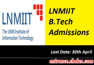 LNMIIT B.Tech Admissions 2017