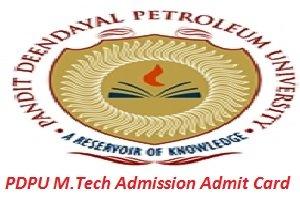 PDPU M.Tech Admission Admit Card 2017