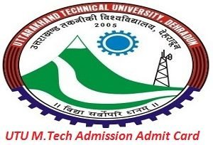 UTU M.Tech Admission Admit Card 2017