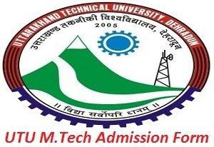 UTU M.Tech Admission Application Form 2017