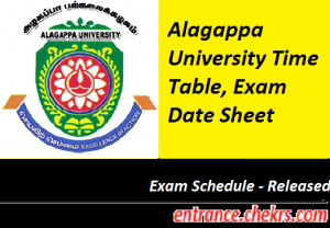 Alagappa University Time Table 2017