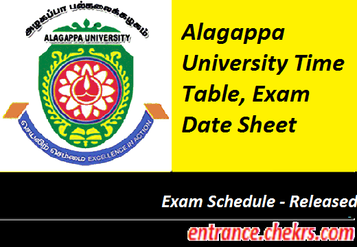 Alagappa University Time Table 2017
