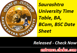 Saurashtra University Time Table 2017