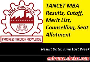 TANCET MBA Result 2017