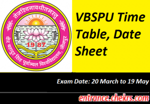 VBSPU Time Table 2017
