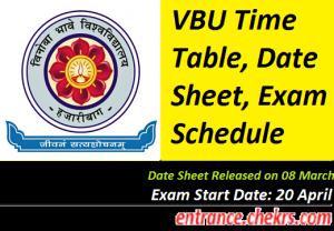 VBU Time Table 2017