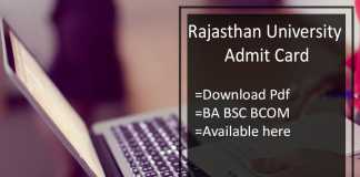 Rajasthan University Admit Card - Uniraj BA BCom BSc Hall Ticket