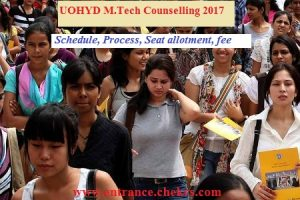 UOHYD M.Tech counselling schedule
