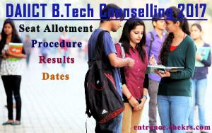 DAAICT B.tech Counselling schedule