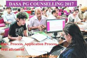 DASA PG Counselling Schedule