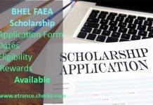 FAEA BHEL Scholarship for undergraduate studies- form, date