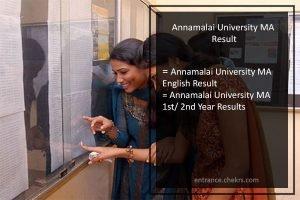 Annamalai University MA English, Tamil 1st/2nd Year Results