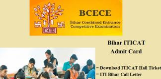 ITICAT Admit card. Bihar ITI (BECEB) Hall ticket Download Online
