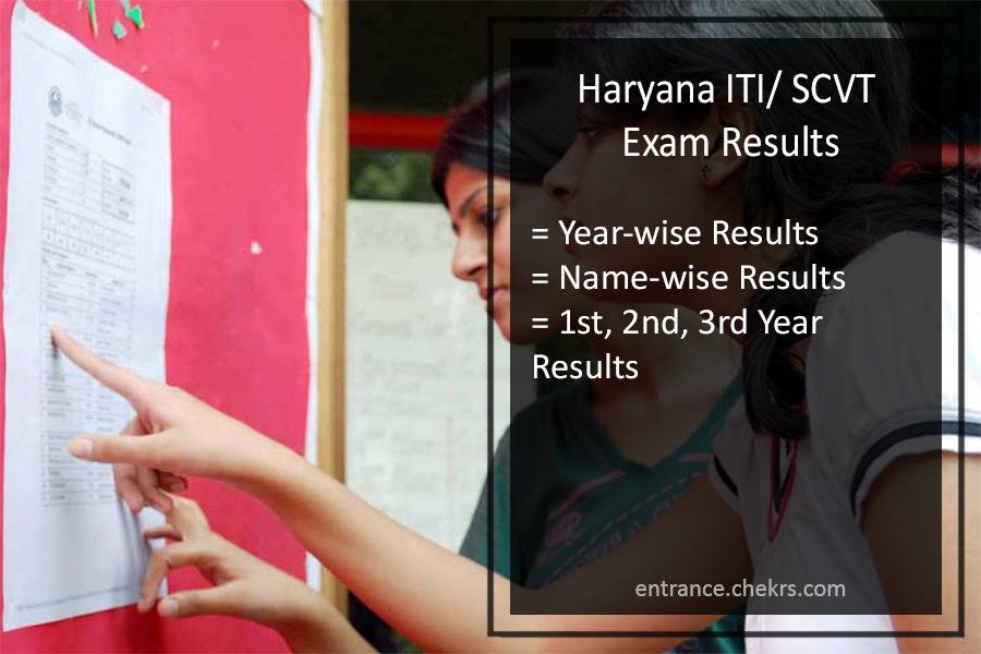 Haryana ITI/ SCVT Exam Results, 1st 2nd 3rd year exam result