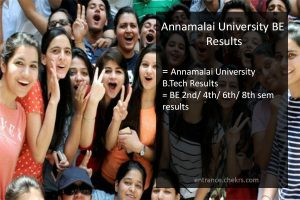 annamalai university BE results- 2nd/ 4th/ 6th/ 8th Semester