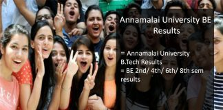 annamalai university BE results- 2nd/ 4th/ 6th/ 8th Semester