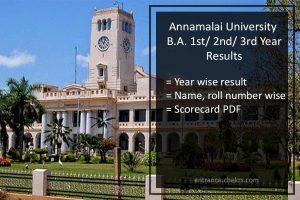 Annamalai University BA 1st/ 2nd/ 3rd Year Results- English, Tamil