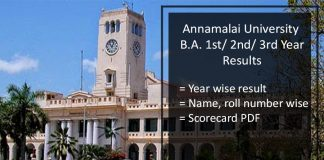 Annamalai University BA 1st/ 2nd/ 3rd Year Results- English, Tamil
