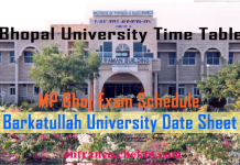 Bhopal University Time Table, 18 2nd 4th 6th Semester date sheet