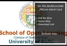 DU SOL Admit Card- BA BCOM MA MCOM Hall Ticket @sol.du.ac.in
