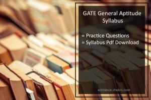 GATE Exam General Aptitude Syllabus- Pdf Download