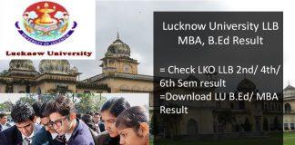 Lucknow University MBA B.Ed Result, LLB 2nd/ 4th/ 6th Semester Result