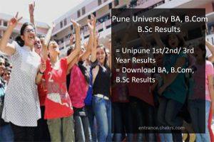 Pune University FY-SY-TY BA B.Sc B.Com Result. unipune 1st/ 2nd/ 3rd Year Results