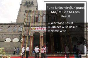 Unipune MA M.Sc M.Com Result- Pune university Part 1 2 Results