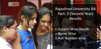 Rajasthan University (RU) BA Part 2 Result- Uniraj 2nd Year Merit List