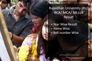 Rajasthan University BCA/ MCA Result RU BA LLB Results