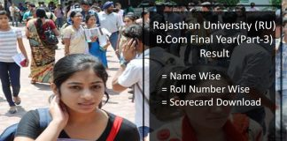 Uniraj RU B.Com Final {Part 3} Result- Rajasthan University B.Com 3rd Year Scorecard