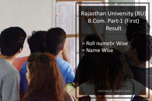 Uniraj B.Com Part 1 Year Result- Rajasthan University First Year Results