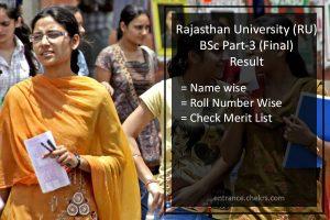 Rajasthan University B.Sc Part 3rd Year Result- Uniraj (RU) Final Results