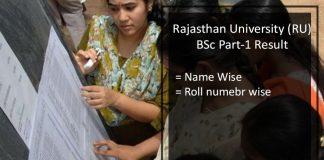 Rajasthan University (RU) BSc 1st Year Result- Uniraj BSc Part 3 Results