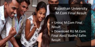 Rajasthan University M.Com Result, Uniraj M.Com Final Results