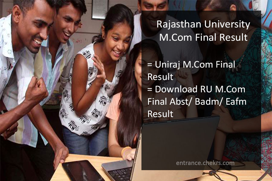 Rajasthan University M.Com Result, Uniraj M.Com Final Results