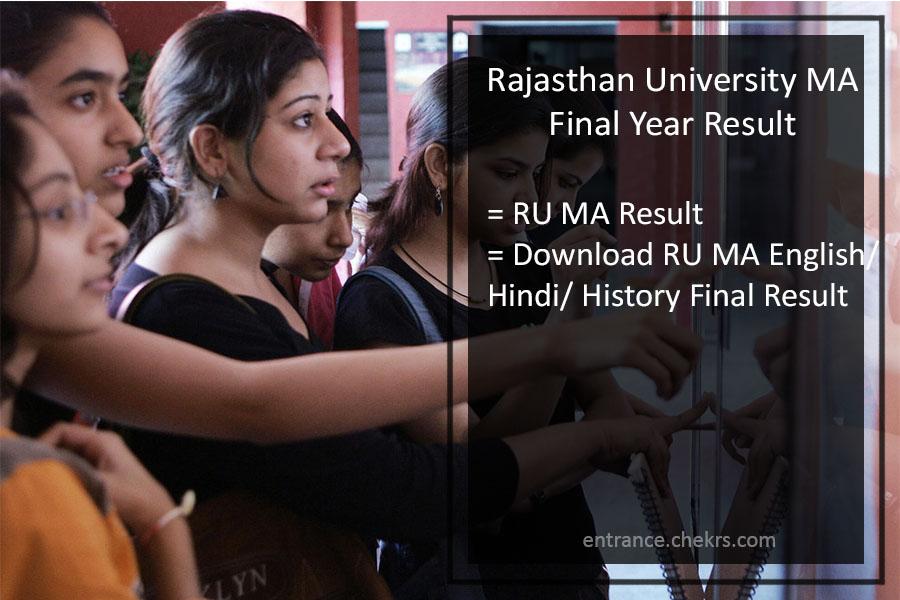 Rajasthan University (RU) MA Final Year Result 2017- Uniraj MA Results Download