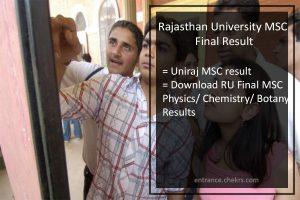 Rajasthan University (RU) MSC Final Result 2017- Uniraj M.Sc Results