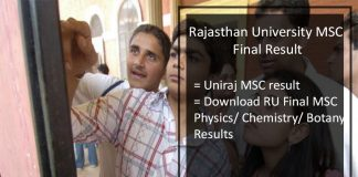 Rajasthan University (RU) MSC Final Result- Uniraj M.Sc Results