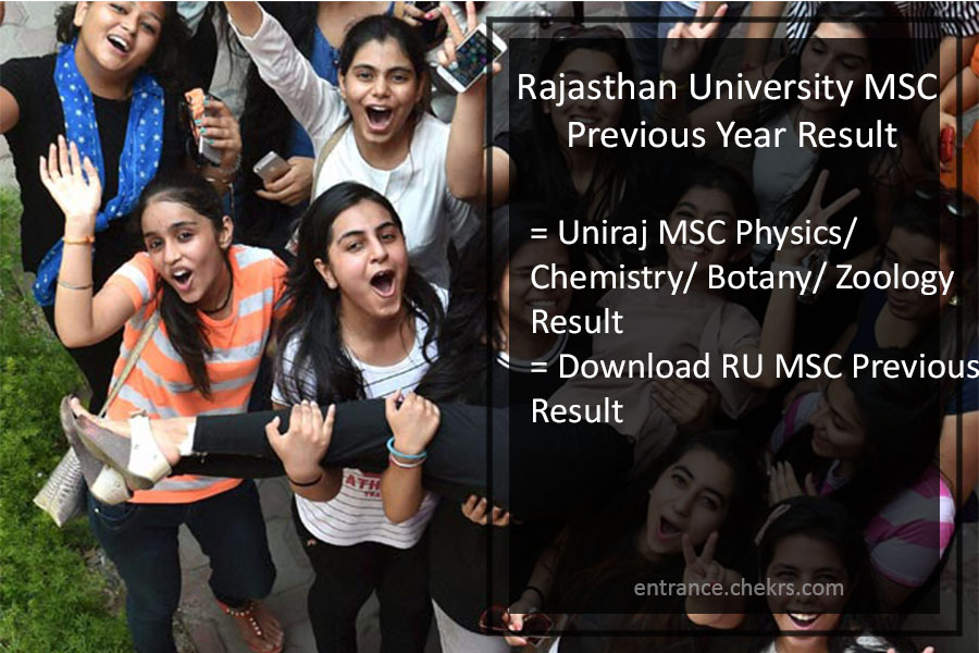 Rajasthan University MSC Previous Year Result 2017- RU MSC Results Name Wise