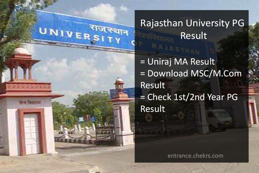 Uniraj Result 2017- Rajasthan University(RU) PG Results- MA/ MSC/ MCOM